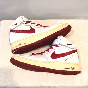 Nike Air Force I - White/Red - Woman's 9/Men's 7.5